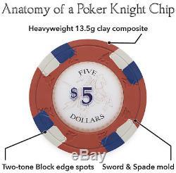 NEW 500 Poker Knights 13.5 Gram Poker Chips Set Black Aluminum Case Pick Chips