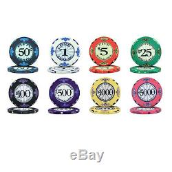 NEW 500 Scroll Ceramic 10 Gram Denomination Poker Chips Set with Aluminum Case