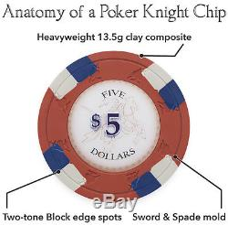 NEW 750 Poker Knights 13.5 Gram Poker Chips Set Aluminum Case Pick Chips