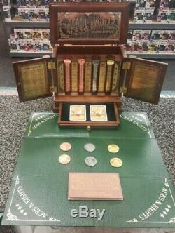 NEW Franklin Mint Aces & Eights Poker Card Set with200 metal chips & wood Case +++