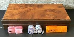 NEW Modiano Poker Set Burl Wood Case Chips Cards Dice Made in Italy Casino