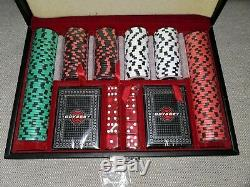 NEW ODYSSEY GOLF LEATHER POKER CHIP SET WithCARDS, DICE & 200 CHIPS Sealed