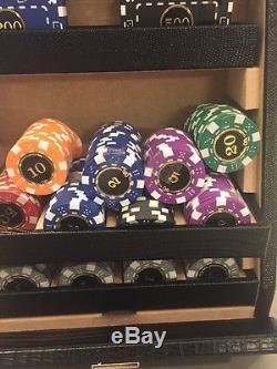 NEW RENZO ROMAGNOLI Texas Poker Set Croc luxury Black Leather Carry Case Barneys