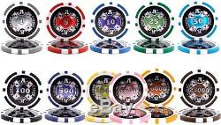 New 1000 Ace Casino 14g Clay Poker Chips Set with Rolling Case Pick Chips