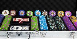 New 1000 Rock & Roll 13.5g Clay Poker Chips Set with Aluminum Case Pick Chips