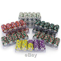New 1000 Showdown 13.5g Clay Poker Chips Set with Acrylic Case Pick Chips
