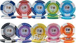 New 1000 Tournament Pro 11.5g Clay Poker Chips Set Aluminum Case Pick Chips