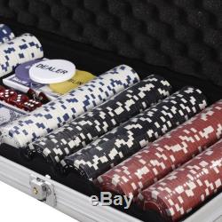 New 500 Chips Poker Dice Chip Set Texas Hold'em Cards With Silver Aluminum Case