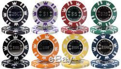 New 500 Coin Inlay 15g Clay Poker Chips Set with Aluminum Case Pick Chips