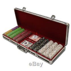 New 500 Desert Heat 13.5g Clay Poker Chips Set Black Aluminum Case Pick Chips