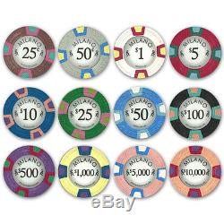 New 500 Milano 10g Clay Poker Chips Set with Black Aluminum Case Pick Chips