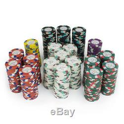New 500 Monaco Club 13.5g Clay Poker Chips Set Black Aluminum Case Pick Chips
