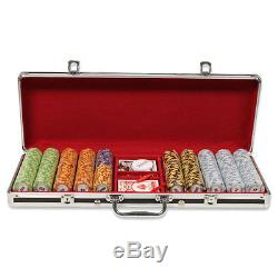 New 500 Monte Carlo 14g Clay Poker Chips Set Black Aluminum Case Pick Chips