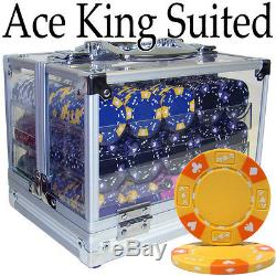 New 600 Ace King Suited 14g Clay Poker Chips Set with Acrylic Case Pick Chips