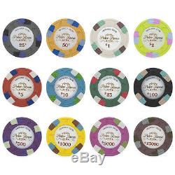 New 600 Monaco Club 13.5g Clay Poker Chips Set with Aluminum Case Pick Chips