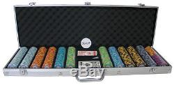 New 600 Monte Carlo 14g Clay Poker Chips Set with Aluminum Case Pick Chips