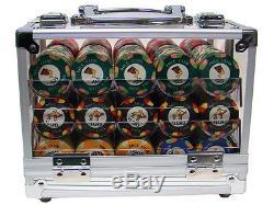 New 600 Nile Club 10g Ceramic Poker Chips Set with Acrylic Case Pick Chips