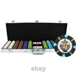 New 600 Rock & Roll 13.5g Clay Poker Chips Set with Aluminum Case Pick Chips