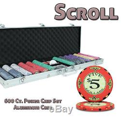 New 600 Scroll 10g Ceramic Poker Chips Set with Aluminum Case Pick Chips
