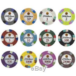New 600 Showdown 13.5g Clay Poker Chips Set with Acrylic Case Pick Chips