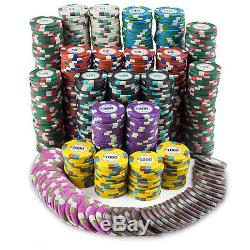 New 750 Poker Knights 13.5g Clay Poker Chips Set with Aluminum Case Pick Chips