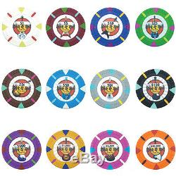 New 750 Rock & Roll 13.5g Clay Poker Chips Set with Aluminum Case Pick Chips
