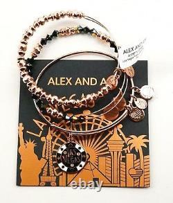 New Alex and Ani Excl Las Vegas Poker Chip Set Of 3 Rose Gold Bangle Bracelet