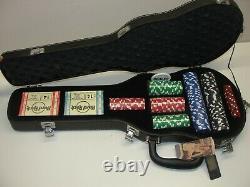 New Hard Rock Cafe Guitar Case Poker Set Cards & Poker Chips