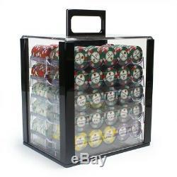 New Holdem Poker Chip Set Desert Heat 1000 Count 13.5g Clay Chip Acrylic Case