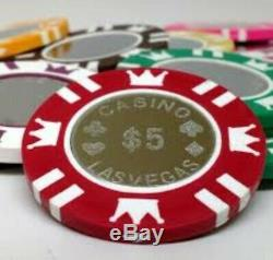 New Poker Chips Set Coin Inlay 1000 Count 15g Rolling Aluminum Case Cards Dice