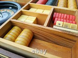 OLD Bakelite / Catalin Game Set 220+ Pieces Backgammon, Poker Chips & More