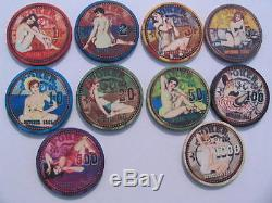 October 1951 Sample Set Keramik Poker Chips 10 Stück
