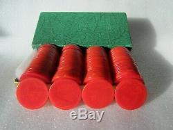 Original 1940s Set of 100 Catalin Marbleized Swirl Bakelite Poker Chips Red