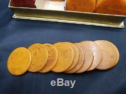 Original 1940s Set of 197 Catalin Marbleized Swirl Bakelite Poker Chips No. 762