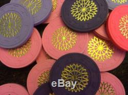 Paulson Starburst Clay Poker Chips, 100 chip set, 4 colors, Lavender Purple Pink