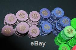 Paulson Top Hat & Cane Poker Chips Starburst Imprint Hot Stamp Set 583 Las Vegas