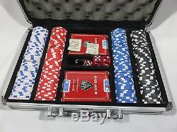 Poker/Card Set 2 Decks, 200 Professional Chips, 5 Dice in Metal Carrying Case