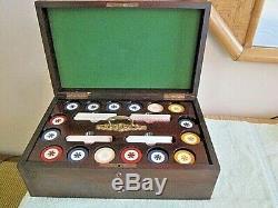 Poker Chip Caddy Cards Set Mahogany Box Bakelite- 400 6 gram chips KEM, US