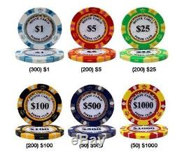 Poker Chip Set 1000 Chips Casino Monte Carlo Aluminum Case 14 gr Dice Clay Bulk