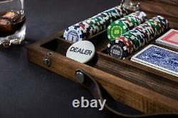Poker Chip Set 500 Chips Included, Holiday Gift, Handmade Wooden Poker Set