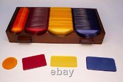 Poker Chip Set Bakelite Vintage 4 Drawer Chest