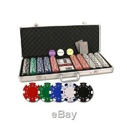Poker Chip Set Striped 500 Pieces Dice Playing Cards Dealer Button Aluminum Case