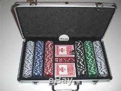 Poker Chips Set 300 Piece Leather Case -11.5 Gram