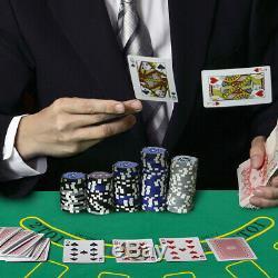 Poker Dice Chip Set 500 Laser Chips Texas Hold'em Cards with Black Aluminum Case