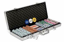 Poker Night Pro 500 Piece Texas Holdem Poker Chips Set With LARGE Aluminium Case