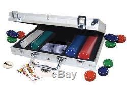 Poker Set In Aluminum Case Texas Hold'em Cards Dealer Chips new Free Shipping