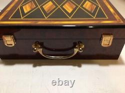 Poker set with Beautiful Case 595 Clay Poker Chips, Aristocrat Cards HEAVY