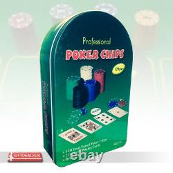Professional 120pcs Dual Toned Poker Chips Set Casino Game 2 Decks Playing Cards