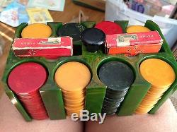 RARE 1940'S MULTI COLOR BAKELITE POKER CHIP SET WithBAKELITE EMERALD RACK CASE