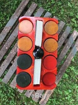 RARE 1940'S MULTI COLOR BAKELITE POKER CHIP SET WithBAKELITE RED RACK CASE